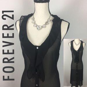 Forever 21 Black Sheer Maxi Blouse